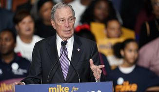 "Democratic presidential candidate and former New York City Mayor Michael Bloomberg speaks during his campaign launch of ""Mike for Black America,"" at the Buffalo Soldiers National Museum, Thursday, Feb. 13, 2020, in Houston. (AP Photo/David J. Phillip)"