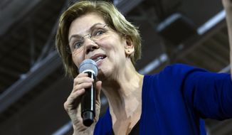 Democratic presidential candidate Sen. Elizabeth Warren, D-Mass., speaks to the crowd during a campaign rally at Wakefield High School, in Arlington, Va., Thursday, Feb. 13, 2020. (AP Photo/Jose Luis Magana)