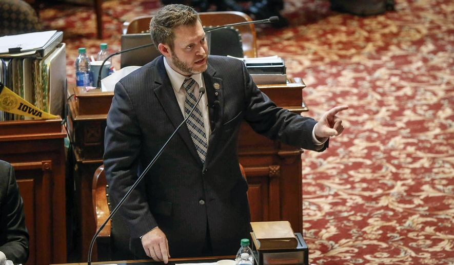 Iowa Senator Jake Chapman, R-Adel, speaks in favor of SJR 2001, a controversial abortion ban bill, during senate debate in the Senate Chambers at the Iowa Capitol Building, Thursday, Feb. 13, 2020 in Des Moines, Iowa. (Bryon Houlgrave/The Des Moines Register via AP)