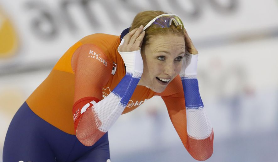 Carlijn Achtereekte, of the Netherlands, reacts after competing during the women's 3,000 meters at the world single distances speedskating championships Thursday, Feb. 13, 2020, in Kearns, Utah. (AP Photo/Rick Bowmer)