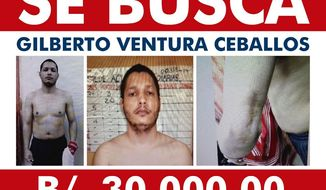This Panama National Police internet wanted police shows Gilberto Ventura Ceballos who has escaped from a Panamanian prison for a second time, presumably with help from police, authorities in Panama City said Tuesday, Feb. 4, 2020.  Ventura Ceballos was sentenced along with an accomplice to 50 years in July 2018 for the abduction and killing of the five university students about a decade ago. He acknowledged murdering them and burying them beneath the floor of a home in the town of La Chorrera west of Panama City, authorities say. (Panama's Public Security Ministry via AP)