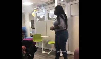 "The University of Virginia has specified that its new diversity-focused centers are open to everyone after a now-viral video showed a black woman complaining about ""too many white people"" being in the Multicultural Student Center. (@YAF Twitter screengrab)"