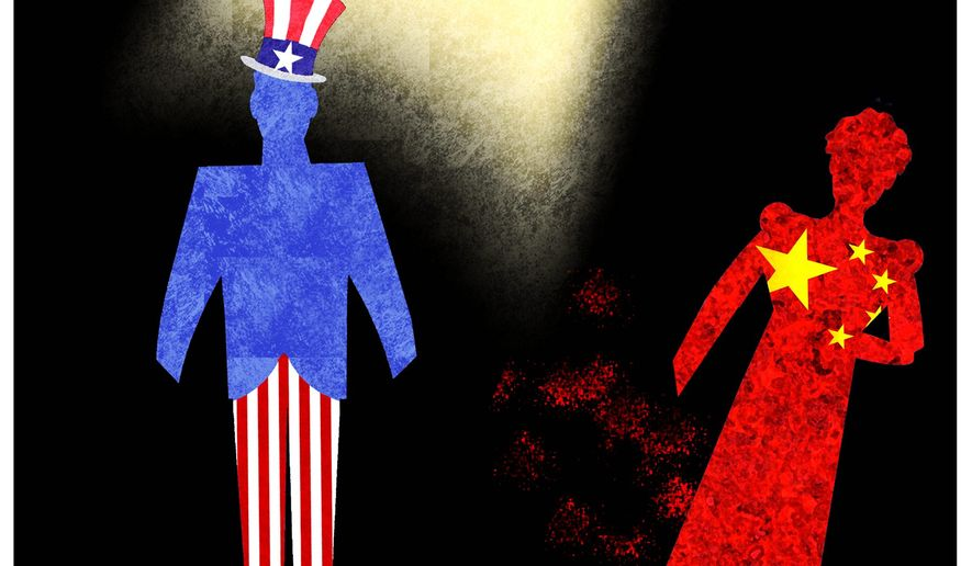 Illustration on the changing U.S./China relationship by Alexander Hunter/The Washington Times