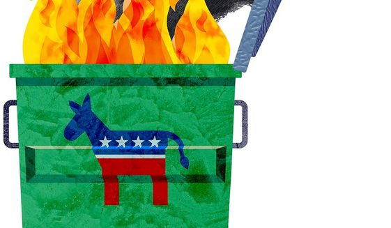 Democrat Dumpster Fire Illustration by Greg Groesch/The Washington Times
