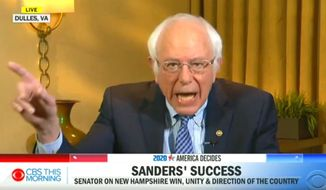 """Sen. Bernard Sanders talks about his political campaign and the """"socialist"""" label, Feb. 14, 2020. (Image: CBS This Morning video screenshot)"""