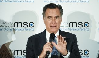 Sen. Mitt Romney, R-Utah, speaks during a session on the first day of the Munich Security Conference in Munich, Germany, Friday, Feb. 14, 2020. (AP Photo/Jens Meyer) ** FILE **
