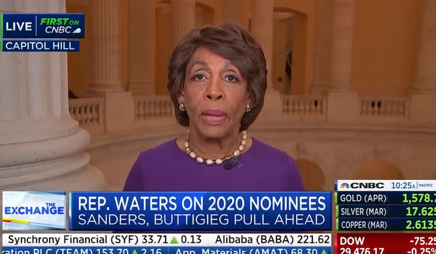 """Rep. Maxine Waters told CNBC that California should have more """"say"""" among Democrats because """"fancy parties"""" raise a lot of money for the party in Beverly Hills, Feb. 13, 2020. (Image: CNBC video screenshot)"""