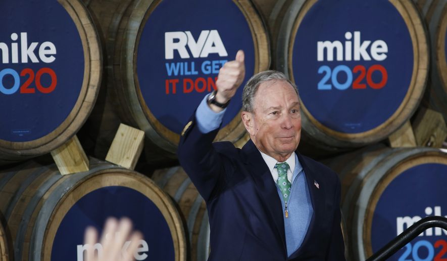 Democratic presidential candidate Mike Bloomberg gives his thumbs-up after speaking during a campaign event at Hardywood Park Craft Brewery in Richmond, Va., Saturday, Feb. 15, 2020. (James H. Wallace/Richmond Times-Dispatch via AP)