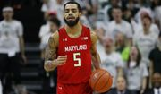 Maryland guard Eric Ayala plays against Michigan State in the first half of an NCAA college basketball game in East Lansing, Mich., Saturday, Feb. 15, 2020. (AP Photo/Paul Sancya) ** FILE **