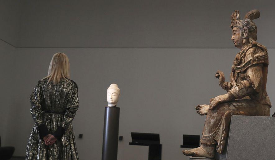 Ivanka Trump, the daughter and senior adviser to U.S. President Donald Trump visits the Louvre Museum in Abu Dhabi, United Arab Emirates, Saturday, Feb. 15, 2020. Ivanka Trump will deliver keynote address at Global Women's Forum in Dubai tomorrow. (AP Photo/Kamran Jebreili)