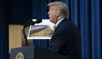 President Donald Trump displays photos of the border wall under construction as he speaks to members of the National Border Patrol Council at the White House in Washington, Friday, Feb. 14, 2020. (AP Photo/J. Scott Applewhite)