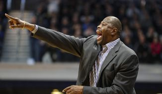 Georgetown head coach Patrick Ewing directs his team against Butler in the second half of an NCAA college basketball game in Indianapolis, Saturday, Feb. 15, 2020. Georgetown defeated Butler 73-66. (AP Photo/Michael Conroy) **FILE**