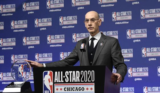 NBA Commissioner Adam Silver unveils the NBA All-Star Game Kobe Bryant MVP Award during a news conference Saturday, Feb. 15, 2020, in Chicago. (AP Photo/David Banks) **FILE**