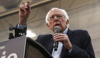 Democratic presidential candidate Sen. Bernie Sanders I-Vt., speaks at a campaign event in Carson City, Nev., Sunday, Feb. 16, 2020. (AP Photo/Rich Pedroncelli)