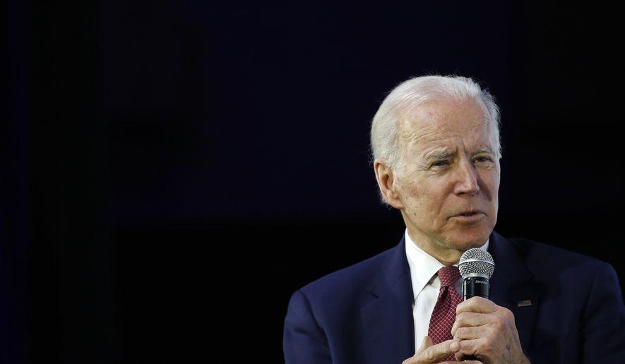 Democratic presidential candidate, former Vice President Joe Biden speaks during a candidate forum on infrastructure at the University of Nevada, Las Vegas, Sunday, Feb. 16, 2020, in Las Vegas. (AP Photo/Patrick Semansky)