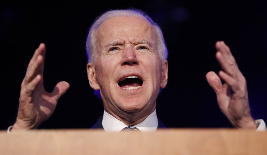 """Democratic presidential candidate former Vice President Joe Biden speaks at the Clark County Democratic Party """"Kick-Off to Caucus 2020"""" event, Saturday, Feb. 15, 2020, in Las Vegas. (AP Photo/John Locher)"""