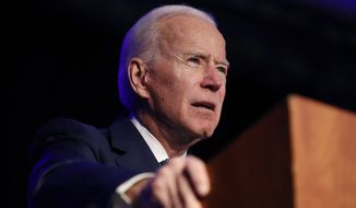 "Democratic presidential candidate former Vice President Joe Biden speaks at the Clark County Democratic Party ""Kick-Off to Caucus 2020"" event, Saturday, Feb. 15, 2020, in Las Vegas. (AP Photo/John Locher)"