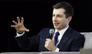 Democratic presidential candidate, former South Bend, Ind., Mayor Pete Buttigieg speaks during a candidate forum on infrastructure at the University of Nevada, Las Vegas, Sunday, Feb. 16, 2020, in Las Vegas. (AP Photo/Patrick Semansky)