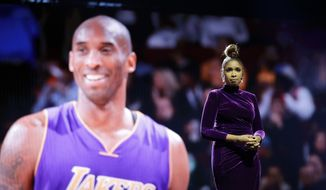 Jennifer Hudson sings a tribute to former NBA All-Star Kobe Bryant and his daughter Gianna, who were killed in a helicopter crash Jan. 26, before the NBA All-Star basketball game Sunday, Feb. 16, 2020, in Chicago. (AP Photo/Nam Huh) ** FILE **