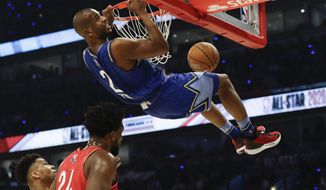 Chris Paul of the Oklahoma City Thunder dunks during the first half of the NBA All-Star basketball game Sunday, Feb. 16, 2020, in Chicago. (AP Photo/Nam Huh) ** FILE **