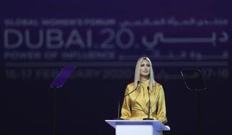Ivanka Trump, the daughter and senior adviser to U.S. President Donald Trump, delivers a keynote address at Global Women's Forum in Dubai, United Arab Emirates, Sunday, Feb. 16, 2020. (AP Photo/Kamran Jebreili)