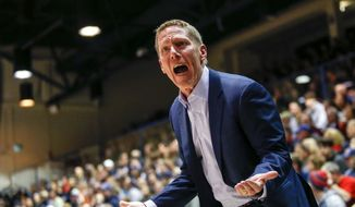 Gonzaga coach Mark Few yells at a referee during the first half of the team's NCAA college basketball game against Pepperdine on Saturday, Feb. 15, 2020, in Malibu, Calif. (AP Photo/Ringo H.W. Chiu)  **FILE**