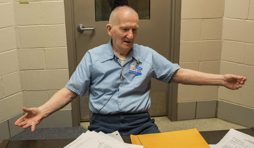 FILE - In this Dec. 6, 2016, file photo, inmate Chester Weger is interviewed at Pinckneyville Correctional Center in Pinckneyville, Ill. Illinois officials have granted parole to Weger, an 80-year-old inmate sentenced to life in prison for the 1960 killings of three suburban Chicago women whose brutalized bodies were found in a cave at a state park. Weber is set to be released the week of Feb. 17, 2020. (Zbigniew Bzdak/Chicago Tribune via AP, File)