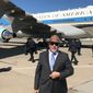 Talk radio host and author Michael Savage pauses before boarding Air Force One in 2019 — which included lunch with President Trump. (Michael Savage)