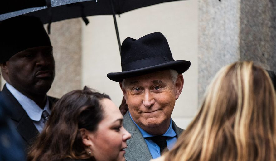Former Trump adviser Roger Stone is hoping the flashy headlines and political firestorm from his sentencing recommendation bring fresh scrutiny to allegations of political bias that his supporters raised in November. (Associated Press)
