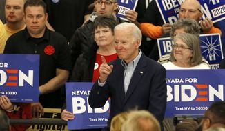 Democratic presidential candidate, former Vice President Joe Biden smiles during a campaign event in Reno, Nev., Monday, Feb. 17, 2020. (AP Photo/Rich Pedroncelli)