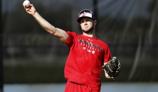 Washington Nationals infielder Carter Kieboom throws during spring training baseball practice Monday, Feb. 17, 2020, in West Palm Beach, Fla. (AP Photo/Jeff Roberson)