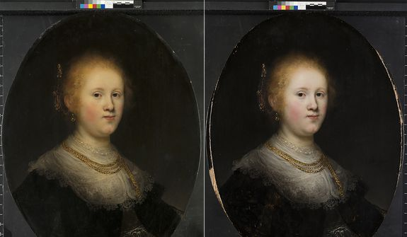 "This photo combo provided by Allentown Art Museum shows from left, before and after restoration of a painting called ""Portrait of a Young Woman.""  Thanks to modern technology and some expert detective work, the 1632 painting that had long been attributed to an unknown artist in Rembrandts workshop has been judged to have been a work of the Dutch master himself.  (Allentown Art Museum via AP)"
