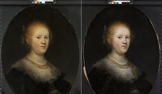 """This photo combo provided by Allentown Art Museum shows from left, before and after restoration of a painting called """"Portrait of a Young Woman.""""  Thanks to modern technology and some expert detective work, the 1632 painting that had long been attributed to an unknown artist in Rembrandts workshop has been judged to have been a work of the Dutch master himself.  (Allentown Art Museum via AP)"""
