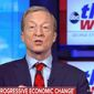 "Presidential hopeful Tom Steyer discusses the economy on ABC's ""The Week,"" Feb. 16, 2020. (Image: ABC, ""This Week"" video screenshot)"