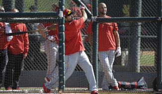 Los Angeles Angels' Anthony Rendon hits during spring training baseball practice, Monday, Feb. 17, 2020, in Tempe, Ariz. (AP Photo/Darron Cummings)