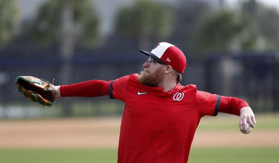Washington Nationals pitcher Sean Doolittle throws during spring training baseball practice Friday, Feb. 14, 2020, in West Palm Beach, Fla. (AP Photo/Jeff Roberson)  *FILE**