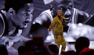 Common performs before the NBA All-Star basketball game Sunday, Feb. 16, 2020, in Chicago. (AP Photo/Nam Huh)