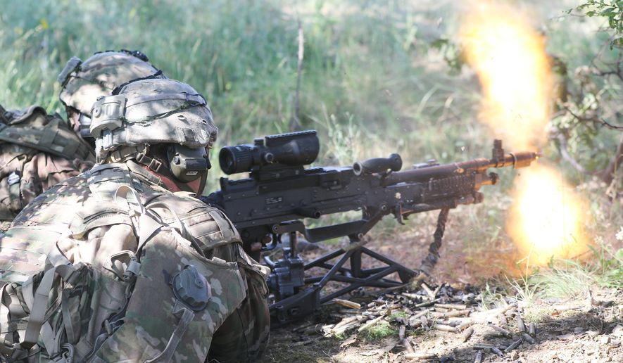 Paratroopers assigned to the 2nd Brigade Combat Team, 82nd Airborne Division, moves fire the M240B machine gun during a combined arms live-fire exercise in support of Swift Response 19 in Novo Selo Training Area, Bulgaria, June 23, 2019.  (U.S. Defense Department photo).