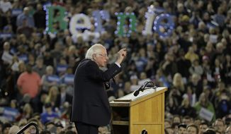 Democratic presidential candidate Sen. Bernie Sanders, I-Vt., speaks at a campaign event in Tacoma, Wash., Monday, Feb. 17, 2020. (AP Photo/Ted S. Warren)