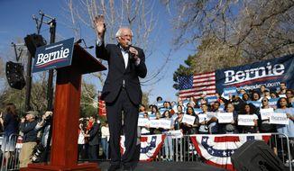 Democratic presidential candidate Sen. Bernie Sanders, I-Vt., speaks during a campaign event at the University of Nevada, Las Vegas, Tuesday, Feb. 18, 2020, in Las Vegas. (AP Photo/Patrick Semansky)