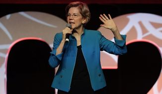 """Democratic presidential candidate Sen. Elizabeth Warren, D-Mass., speaks at a """"Care In Action"""" campaign rally, Tuesday, Feb. 18, 2020, in Las Vegas. (AP Photo/Matt York)"""