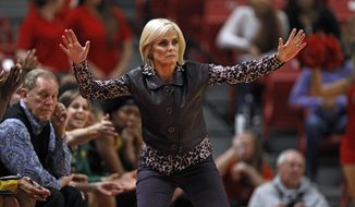 Baylor coach Kim Mulkey gestures to players during the first half of an NCAA college basketball game against Texas Tech, Tuesday, Feb. 18, 2020, in Lubbock, Texas. (AP Photo/Brad Tollefson)