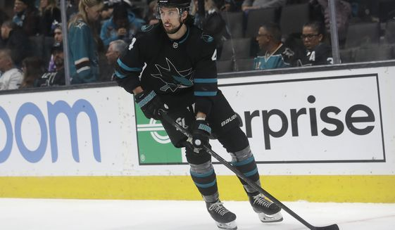 San Jose Sharks defenseman Brenden Dillon skates during the second period of the team's NHL hockey game against the Columbus Blue Jackets in San Jose, Calif., Thursday, Jan. 9, 2020. (AP Photo/Jeff Chiu) ** FILE **