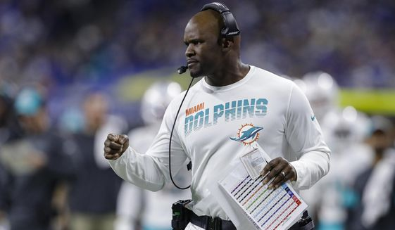 In this Nov. 10, 2019, file photo, Miami Dolphins head coach Brian Flores watches from the sidelines during the first half of an NFL football game against the Indianapolis Colts in Indianapolis. (AP Photo/Darron Cummings, File)