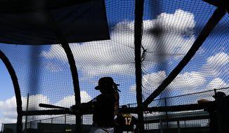 Pittsburgh Pirates' Josh Bell takes batting practice during a spring training baseball workout Monday, Feb. 17, 2020, in Bradenton, Fla. (AP Photo/Frank Franklin II)