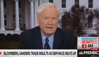 MSNBC's Chris Matthews talks about Sen. Bernard Sanders' presidential campaign, Feb. 18, 2020. (Image: MSNBC video screenshot)