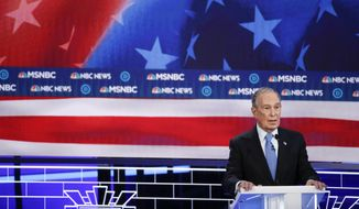Democratic presidential candidates, former New York City Mayor Mike Bloomberg speaks during a Democratic presidential primary debate Wednesday, Feb. 19, 2020, in Las Vegas, hosted by NBC News and MSNBC. (AP Photo/John Locher)
