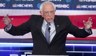 Democratic presidential candidate Sen. Bernie Sanders, I-Vt., speaks during a Democratic presidential primary debate Wednesday, Feb. 19, 2020, in Las Vegas, hosted by NBC News and MSNBC. (AP Photo/John Locher)