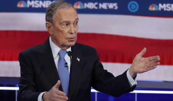 Democratic presidential candidate Mike Bloomberg took hits in his first Democratic presidential primary debate Wednesday. (Associated Press)