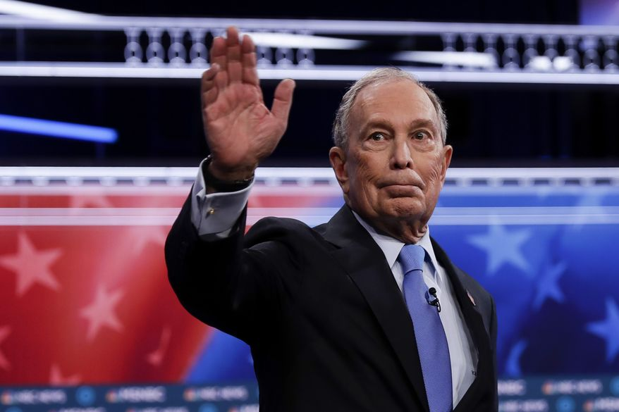 Democratic presidential candidates, former New York City Mayor Mike Bloomberg arrives for a Democratic presidential primary debate Wednesday, Feb. 19, 2020, in Las Vegas, hosted by NBC News and MSNBC. (AP Photo/Matt York)